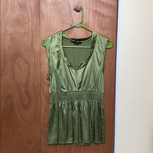 BCBGMAXAZRIA Olive Green Silk Top, Large